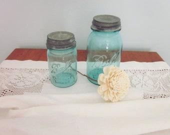 Vintage Aqua Mason Jars, Set of 2, Farmhouse, Rustic