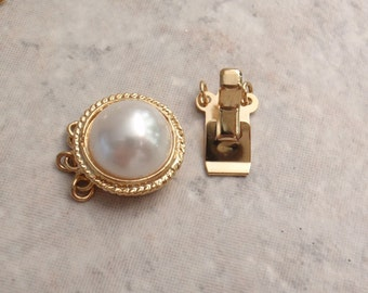 Faux Pearl Box Clasp Gold Plated Round Rope Trim Triple Strand Qty. 1