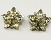 Vintage Marquise Rhinestone Flower Button Pair, 22mm, 2pc