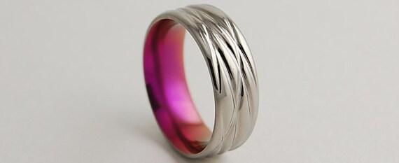 Titanium Ring , Wedding Band , Titanium Wedding Band , Titanium Wedding Ring , Promise Ring , The Sphinx in Passion Pink with Comfort Fit