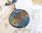 Peacock Blue Steampunk clay pendant, Steampunk Pendant, Watch Gear Pendant, Steampunk Jewelry