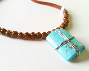 Wire-wrapped Turquoise Pendant and Brown Glass Beaded Necklace