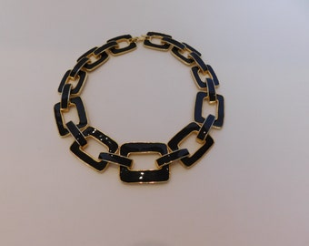 BIG BOLD BEAUTIFUL - Black Enamel Necklace - Make a Statement with this Dramatic Necklace!