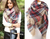 Free shipping, Blanket Plaid Scarf Gift for Her Tartan Scarf Check Scarf Plaid Shawl Tartan Shawl Check Shawl Winter Scarf Women Accessory