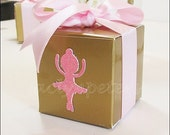 Pink & Gold, Ballerina Party, Glitter Favor Boxes, Girls First Birthday, Baby Shower, Pink Satin Bow, Ballet Dancer, Candy Box, Set Of 10