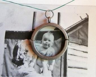 Vintage Porthole Locket Pendant Steampunk Glass Inserts Memory Necklace