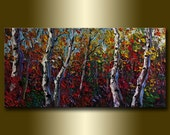 Original Autumn Birch Tree Forest Textured Palette Knife Landscape Painting Oil on Canvas Modern Art Seasons 20X40