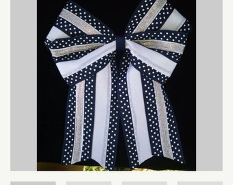 Hair Bow Navy White Silver Polka Dot Dotted Swiss cheer, softball double bow 6 inches