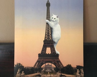 Cat Art, Eiffel Tower, Cat Print, Cat Art Print, Paris Art, Eiffel Tower Art, Alternate Histories, Funny Cat Art