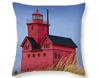 Holland Lighthouse Big Red with Dune Grass by Lake Michigan Throw Pillow No.1532 seascape decorative novelty pillow Home Décor cushion cover