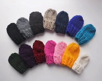Chunky Knit Baby Mittens With String - Attached Thumbless Mitts Newborn 0 - 6 Months, 6 - 12 Months