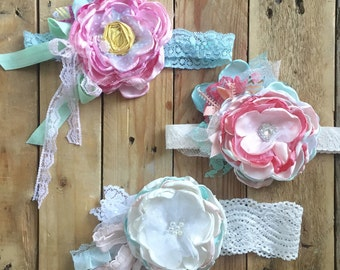 Flower garden flower headband cozette couture