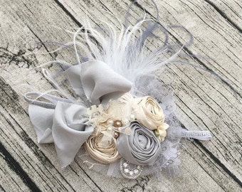 Grey baby headband fall headband cozette couture flower girl once upon a time back to school bow, flower headband, tutu