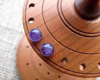 Amethyst Sterling silver stud earrings - studs 6mm dark purple ball posts February birthstone