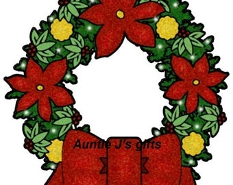 "CROCHET graph with instructions PATTERN, Christmas wreath, 50""x52"""