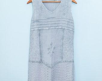 women's boho artsy hippie grey washed rayon dress size small