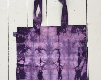 purple tie dye organic cotton tote bag