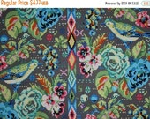 ON SALE SPECIAL--Intricate Blue and Green Bird and Floral Hapi PrintPure CottonFabric--One  Yard
