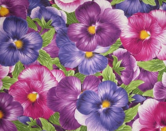Huge Purple and Fuchsia Packed Pansy Print Cotton Fabric--By the Yard