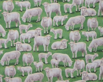 ON SALE Serene Sheep in the Pasture Print Pure Cotton Fabric--One Yard