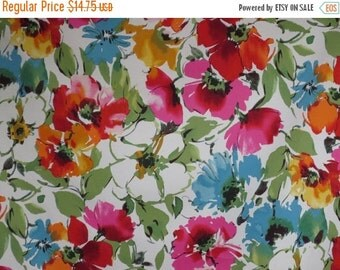 ON SALE Sage Green Pink and Blue Floral Print Stretch Cotton Sateen Fabric--One Yard