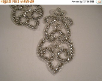 ON SALE Fleur de Lis Design Rhinestone Applique--One Piece