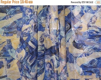 ON SALE REMNANT--Blue Yellow and Metallic Silver Abstract Print Silk Chiffon Fabric--One Yard
