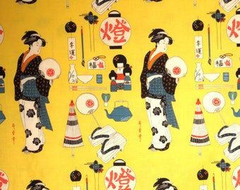 Bright Yellow Geisha Coterie Print Pure Cotton Fabric from Alexander Henry--One Yard
