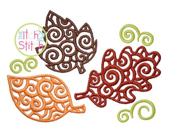 Scroll Leaf Set Embroidery Design For Machine Embroidery, INSTANT DOWNLOAD now available