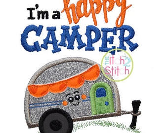 I'm a Happy Camper Applique Design For Machine Embroidery, INSTANT DOWNLOAD available