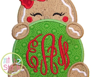 "Gingerbread Peeker Girl Applique Design, Shown with our ""Fancy Circle"" Font NOT Included, In Hoop Size(s) 4x4, 5x7, & 6x10 INSTANT DOWNLOAD"