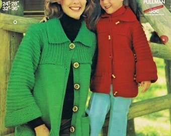 Mother & Daughter Knitted Coat - Pattern by Sirdar