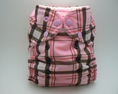 One Size Cloth Diaper - Pink Plaid PUL with White Microfleece