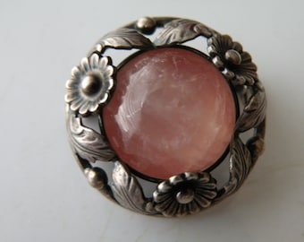 N.E.From Denmark sterling silver pink quartz or rhodochrosite floral brooch.