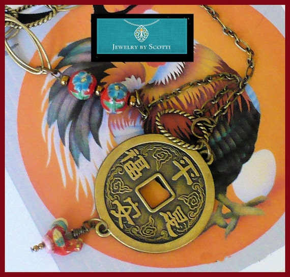 Year of the Rooster Necklace, Her Zodiac Necklace, Astrology Necklace, Statement Necklace, Chinese Coin Pendant, Chinese Horoscope