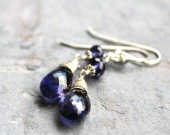 Teardrop Iolite Earrings Classic Violet Blue Water Sapphire Gemstones, Sterling Silver