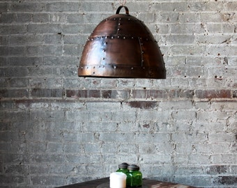 industrial pendant light antique copper finish hanging riveted reclaimed iron light fixture