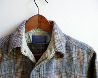 Vintage Pendleton Wool Grey Plaid Shirt Sz. S USA
