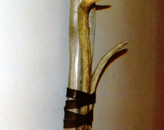 Driftwood and shed elk antlers with leather wall hook decor