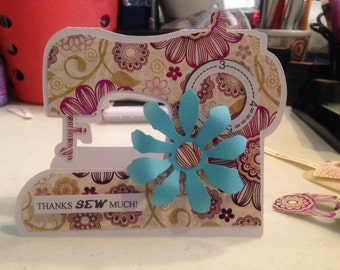 Thank You Sew Much - Exquisitly Handmade Greeting Card