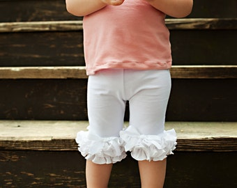 Capri Leggings with Ruffles Available in Many Colors / Baby Girls Leggings---0M-18M
