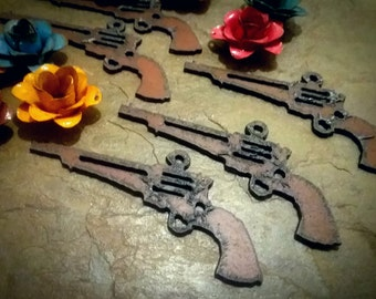 """Rusty Six Shooter Pendant, Charm, Rusty Cowgirls, 1.5x3.25"""", Rusted Iron Pendant, Priced per Piece"""