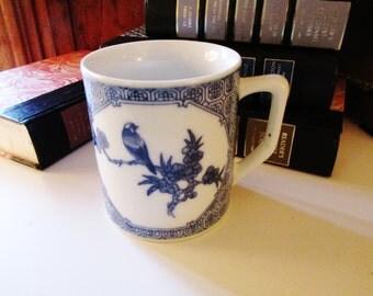Blue and White Chinoiserie Mug, Palm Beach Decor, Hollywood Regency, Blue and White Mug