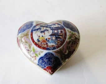 Imari Ware Box, Chinoiserie Heart Trinket Box, Valentine Day