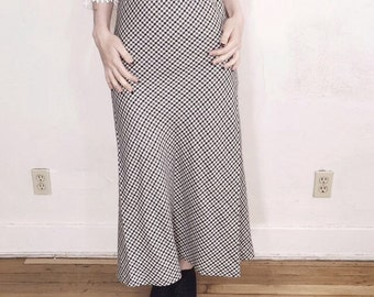 90s gingham high waisted maxi skirt size small