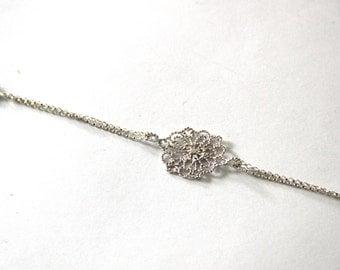lace flower bracelet, sterling silver lace bracelet , valentine gift bracelet,filigree lace bracelet