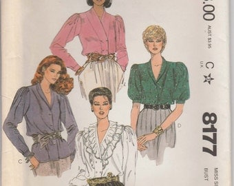 Shirt Pattern Double Breasted, Gathered Sleeves Size 18 Uncut McCalls 8177