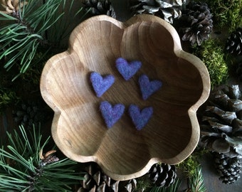 Felted wool hearts, set of 5, Purple Jelly Bean, purple valentine hearts, valentine under 20, teacher valentine gift, purple mini wool heart