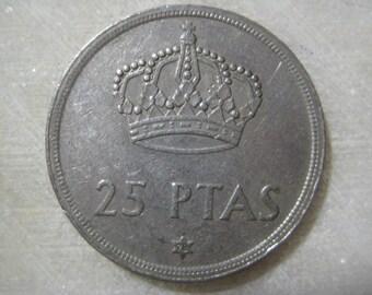 Spain 1975 Coin, 25 Pesetas - Juan Carlos I