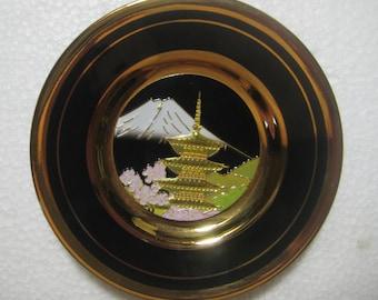 Vintage Japanese Art of Chokin Plate, 24K gold, Gold Gilded, Depiction of Sakura, Pagoda, Mt. Fuji, on Black Background, 4 Inch Size, 1 Pc.